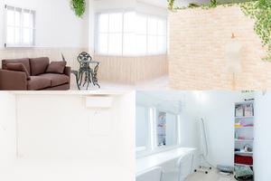 【大阪/天満橋】欧風レンガ調にホワイトスペース!メイク室も!自然光の入る撮影スタジオの写真